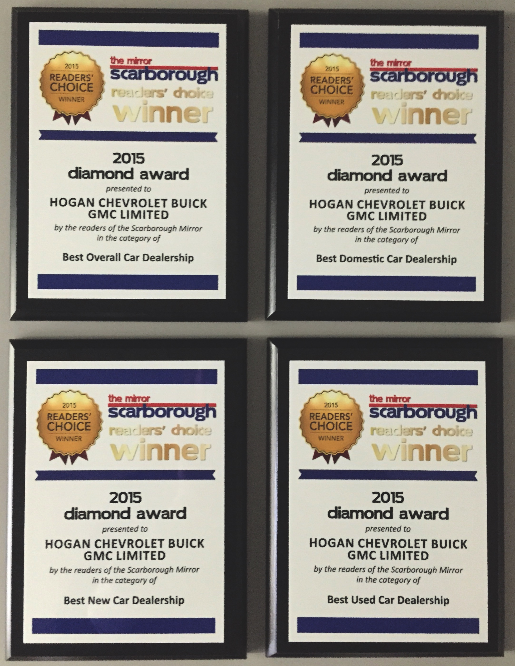 All 4 Diamond Award winner Plaques from the Scarborough Mirror