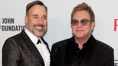 Photo of David Furnish and Elton John.