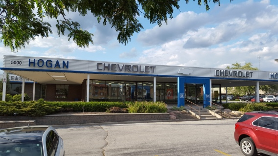Front view of Hogan Chev, pre-reno. Oh, how far we have come!